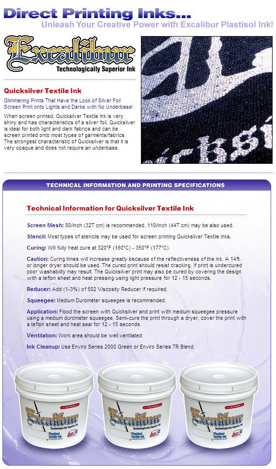 JMC Plastisol Ink Quicksilver Textile Series